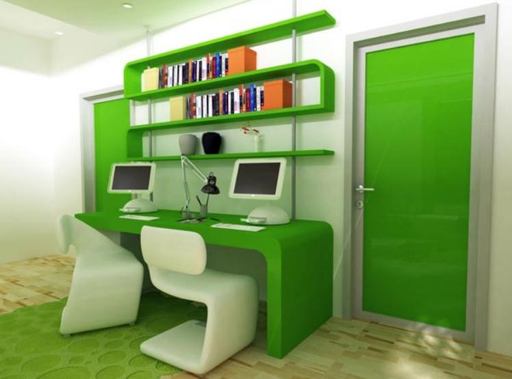 Ультрасовременный интерьер с необычным зеленым столом из пластика