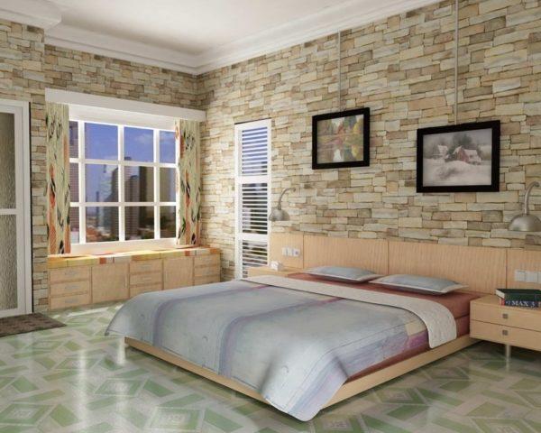 Имитация камня — хорошая страховка от проступания стен под отделочным материалом