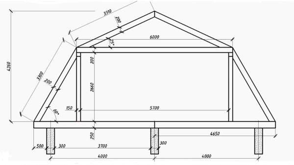 Инструкция сборки стропил, с которой вы сможете ознакомиться в этой статье, дана с учетом этого чертежа и этих размеров