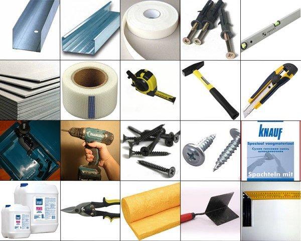 Инструменты и материалы для сооружения гипсокартонной конструкции, которые могут понадобиться