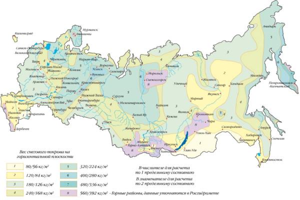 Интенсивность снегового покрова по регионам РФ
