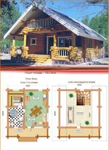 Интересный проект для дачи — дом баня 9х7,6 м