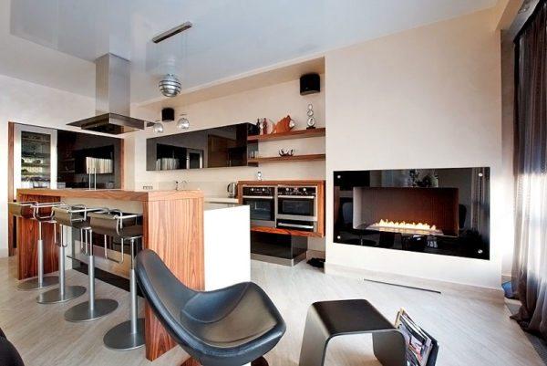 Камины подходят только для просторных кухонь или для кухонь-студий