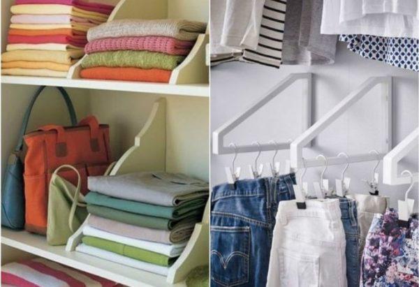 Каждая часть шкафа предназначена для хранения определенного типа одежды