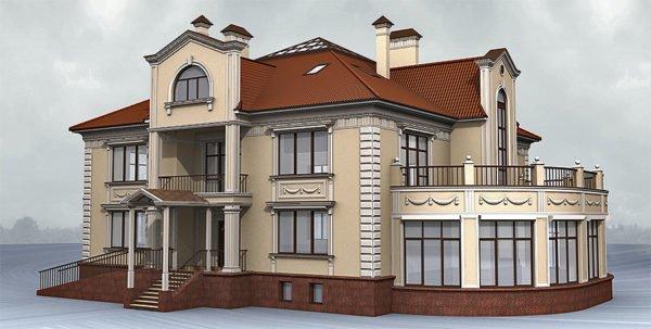 Классический современный особняк с архитектурными украшениями