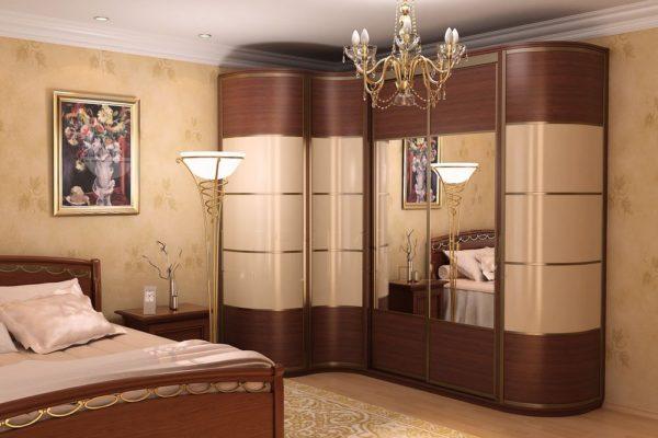 Комбинированные радиусные конструкции выглядят необычно и легко вписываются в интерьер спальни.
