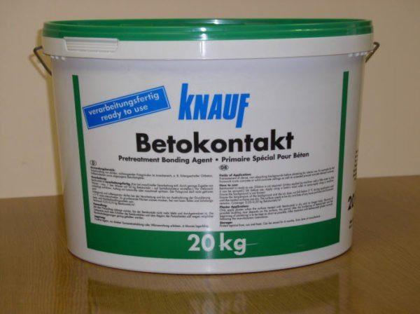 Компания Кнауф рекомендует использовать Бетоконтакт только с гипсовыми шпатлевками.