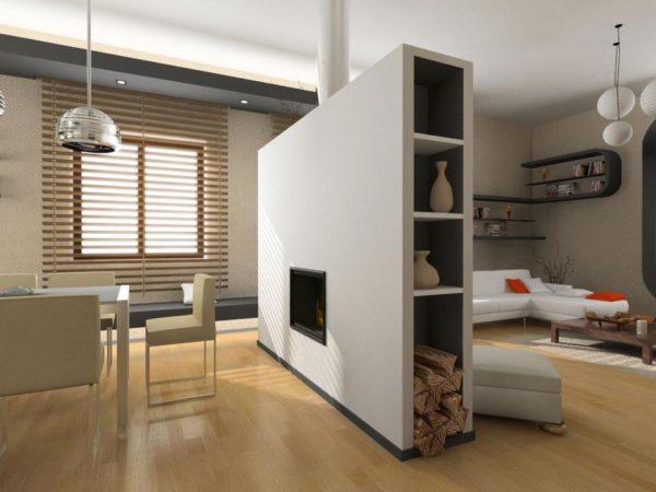 Конструкция из гипсокартона – замена обычной корпусной мебели в интерьере гостиной