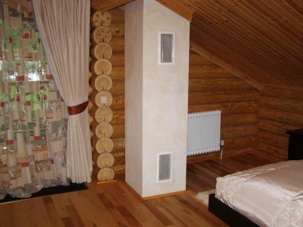 Короб для дымохода, обшитый гипсокартоном на втором этаже.
