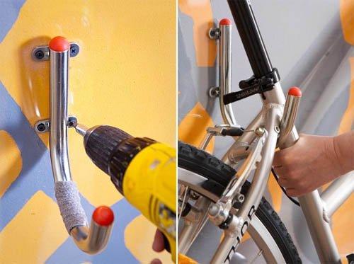 Крепление рам со слопингом (с наклоном) – крюки фиксируют велосипед в двух точках: у рулевого стакана и в промежутке между подседельной трубой и перьями