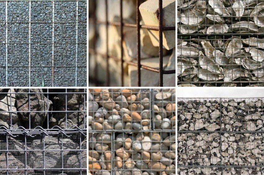 Кроме камней такие сетки можно наполнять любым водостойким материалом.