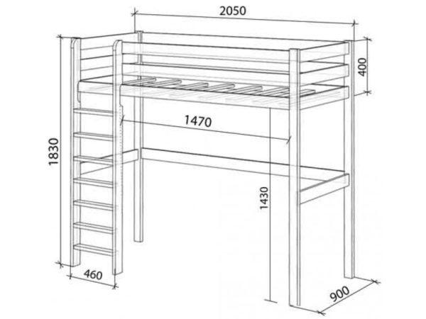 Кровать-чердак под односпальный матрас 800×1900 мм со свободным пространством в первом ярусе для устройства игровой зоны