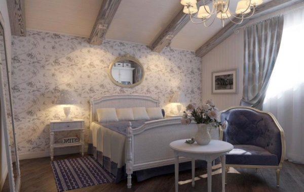 Кровать — главный элемент спальни, оформленной в духе Прованса.