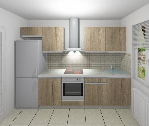 Кухня с фасадом из напольного ламината