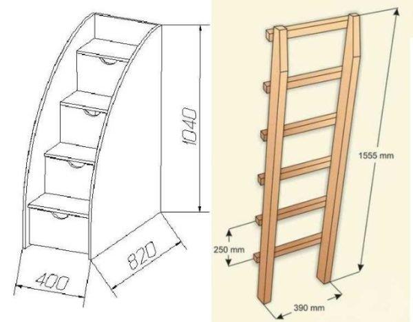 Лестницы к двухъярусным кроватям — важный элемент конструкции, их можно собрать отдельно