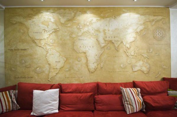 Любые рельефные изображения могу быть воссозданы на стенах жилого помещения