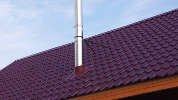 Металлические дымоотводы зачастую нуждаются в креплении на крыше
