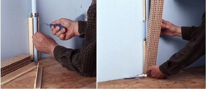 Как прячут трубы на кухне