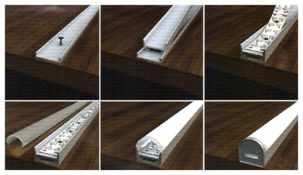 Монтаж светодиодной ленты желательно выполнять в алюминиевом профиле.