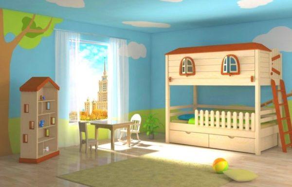 Можно подобрать всю мебель в одном стиле, а стены расписать, чтобы создать маленький сказочный мир