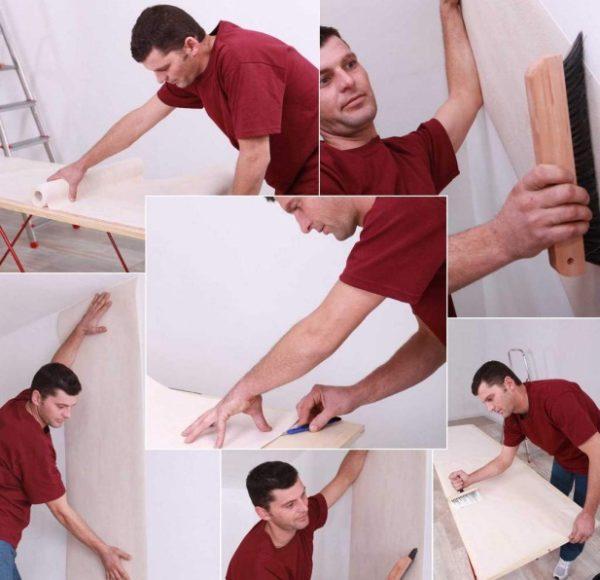 На фото хорошо знакомый многим процесс финишной отделки стен и потолков.
