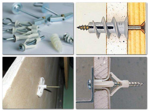 На фото показаны метизы, с помощью которых выполняется крепление кухонных шкафов к стене из гипсокартона