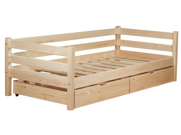 На фото видны основные элементы в конструкции кровати, включая выдвижные ящики