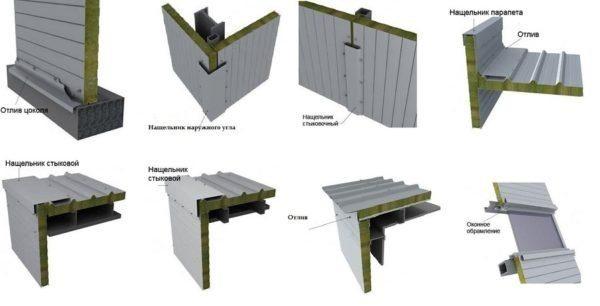 На рисунке показаны конструктивные элементы, с помощью которых строится модульный гараж
