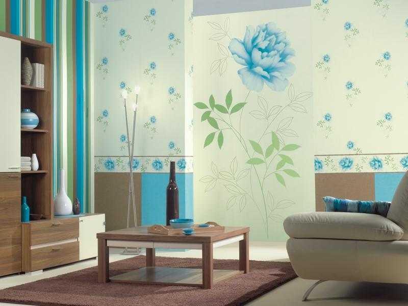 Выбор голубых обоев для стен, фото в интерьере