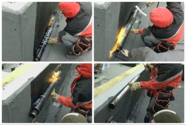 Наплавление кровельного покрытия на примыкание крыши и бортика