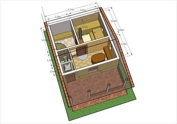 Небольшая семья может обойтись одноэтажной баней.