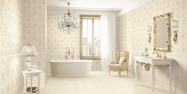 Необычно отделать ванну можно при помощи кафеля под обои