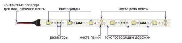Низковольтную ленту можно резать через каждые три светодиода.