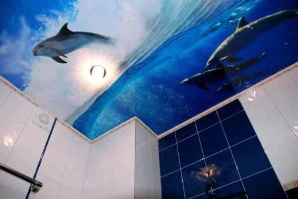 Объемное изображение может украсить интерьер ванной комнаты