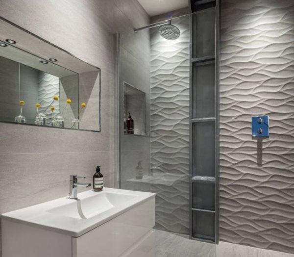 Объемные панели позволяют отделывать ванную комнату стильно и современно