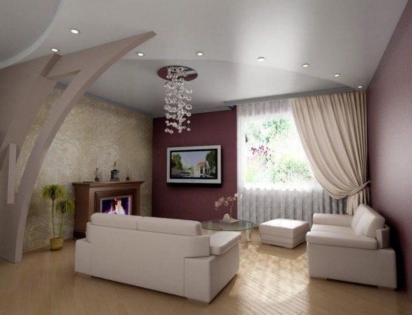 Обратите внимание, как перекликаются между собой полуарка, форма подвесного потолка и схваченная подхватом штора