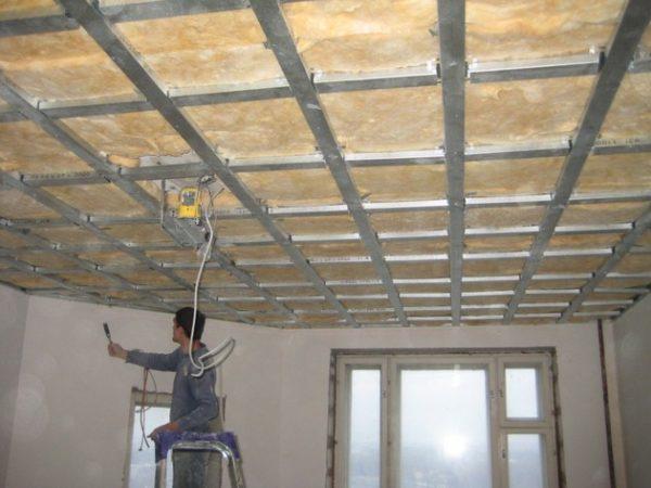 Обрешетка для монтажа ГКЛ на потолок