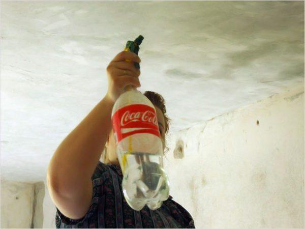 Опрыскиватель для удобства можно прикрутить к пластиковой бутылке. Шаг и диаметр резьб совпадают.