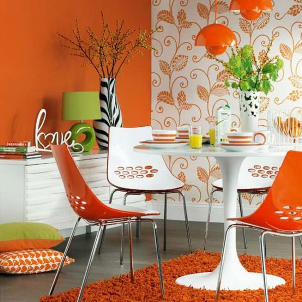 Оранжевый цвет в декоре кухни.