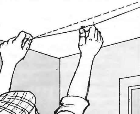 Ориентировочная линия на потолке для монтажа подвесов