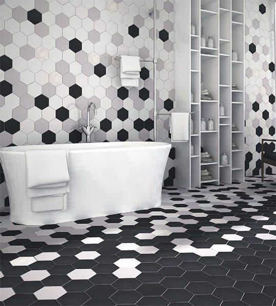 Оригинально оформить интерьер поможет плитка шестигранник