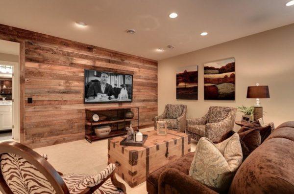 Оригинальный дизайн интерьера с использованием деревянных обоев