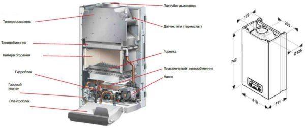 Основные элементы современного газового котла от Протерм