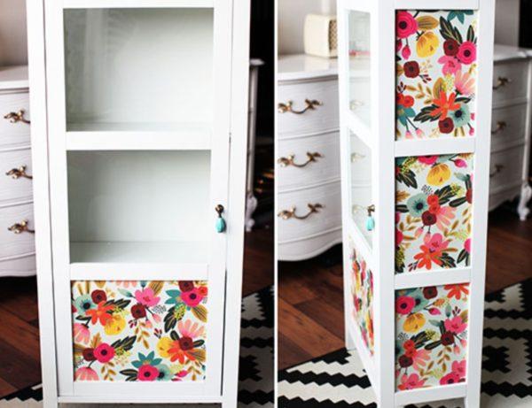 ostatki-oboev-mogut-stat-otlichnym-instrumentom-dekora-600x461 Декупаж старого шкафа своими руками фото: кухонный мастер-класс, как сделать оформление двери шкафчика