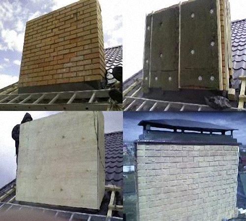 Отделка дымохода осуществляется так же, как и отделка стен