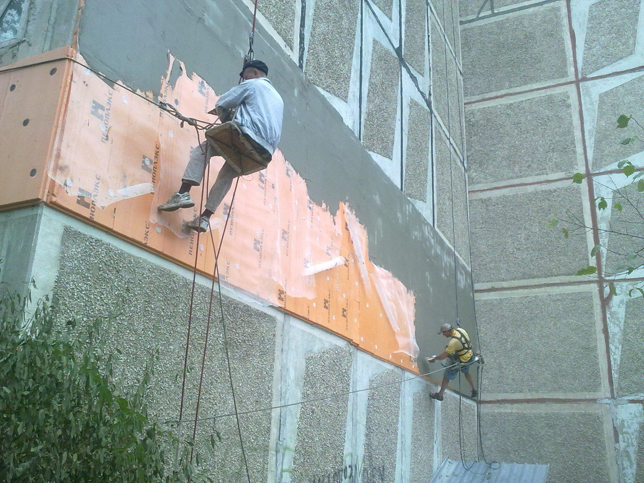 Монтаж пеноплекса на стену лоджии. - недорогие, качественные.