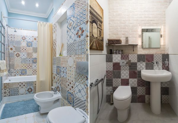Отделка под пэчворк позволит разнообразить интерьер ванной