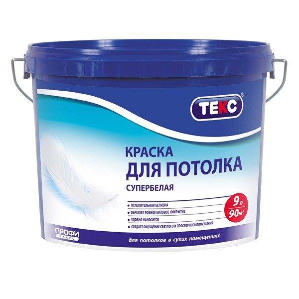 Отечественная краска для потолка для гипсокартона на водной основе для сухих помещений.