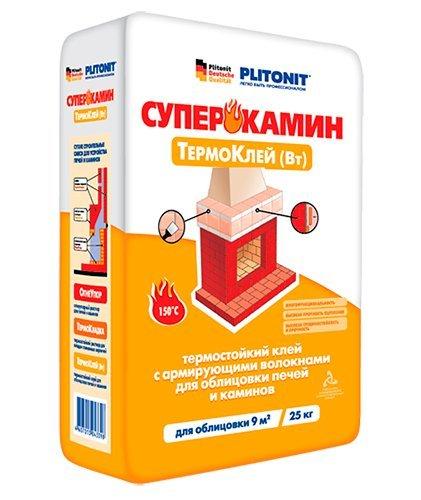 Отечественный бюджетный вариант термостойкого клея «Плитонит-ВТ».