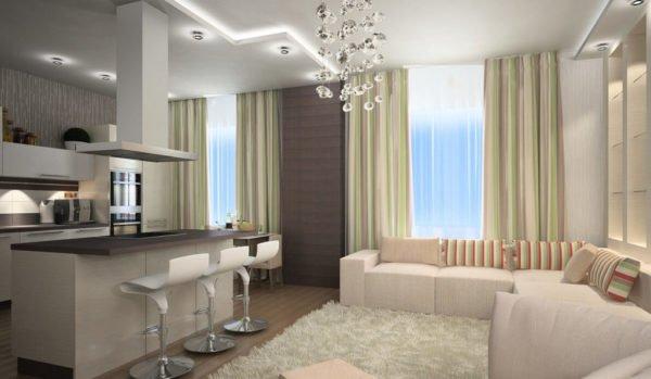 Открытая планировка кухонь сделает помещение намного более просторным